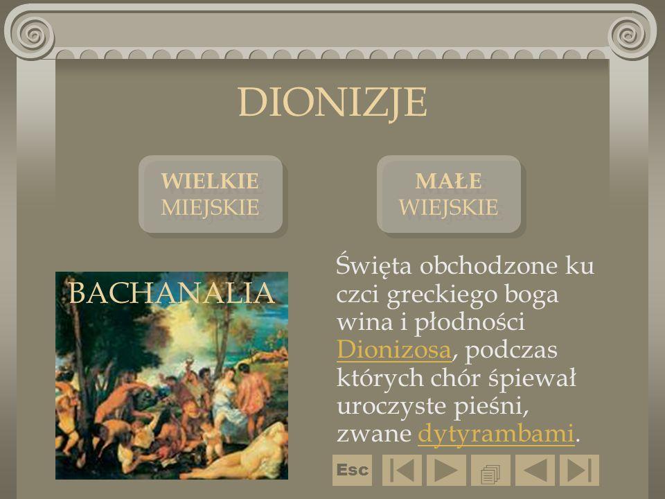 DIONIZJE Święta obchodzone ku czci greckiego boga wina i płodności Dionizosa, podczas których chór śpiewał uroczyste pieśni, zwane dytyrambami. Dioniz