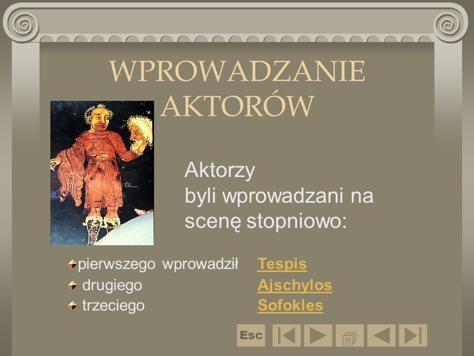 WPROWADZANIE AKTORÓW Aktorzy byli wprowadzani na scenę stopniowo: pierwszego wprowadził TespisTespis drugiego AjschylosAjschylos trzeciegoSofoklesSofo
