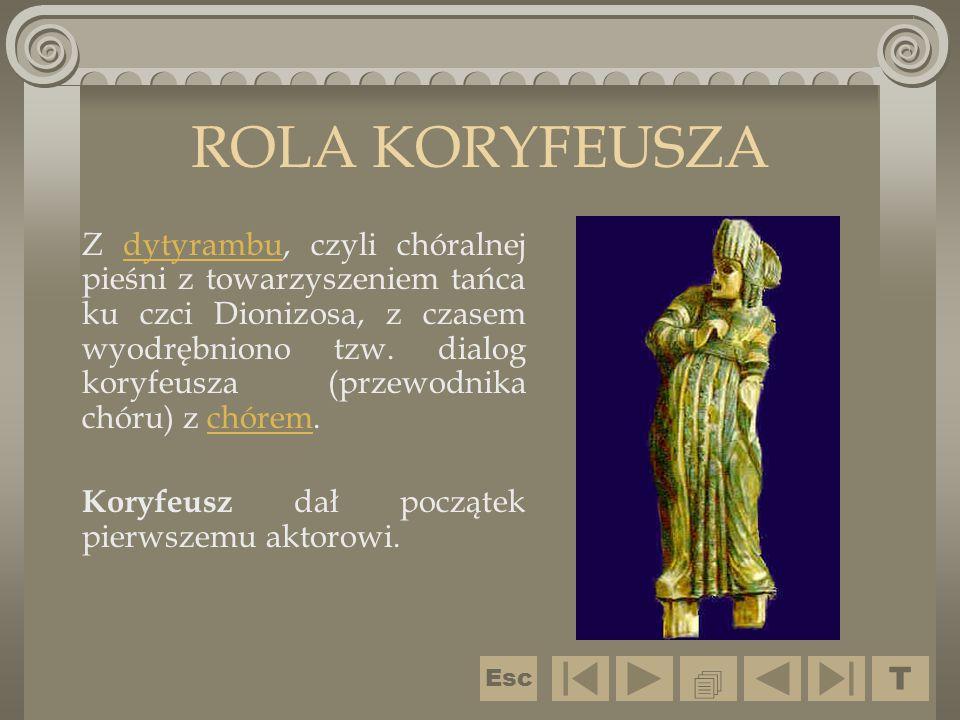 ROLA KORYFEUSZA Z dytyrambu, czyli chóralnej pieśni z towarzyszeniem tańca ku czci Dionizosa, z czasem wyodrębniono tzw. dialog koryfeusza (przewodnik
