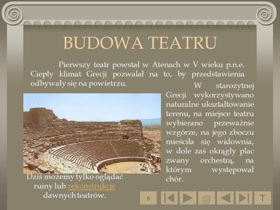 BUDOWA TEATRU W starożytnej Grecji wykorzystywano naturalne ukształtowanie terenu, na miejsce teatru wybierano przeważnie wzgórze, na jego zboczu mieś