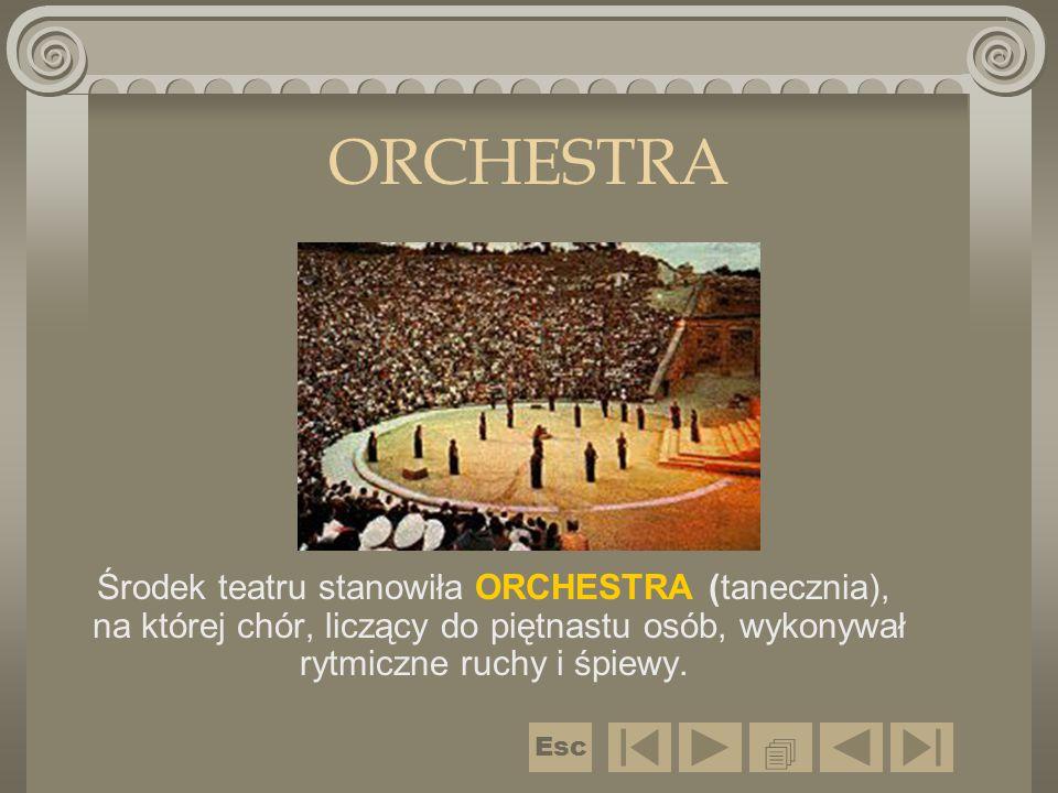 ORCHESTRA Środek teatru stanowiła ORCHESTRA (tanecznia), na której chór, liczący do piętnastu osób, wykonywał rytmiczne ruchy i śpiewy.  Esc