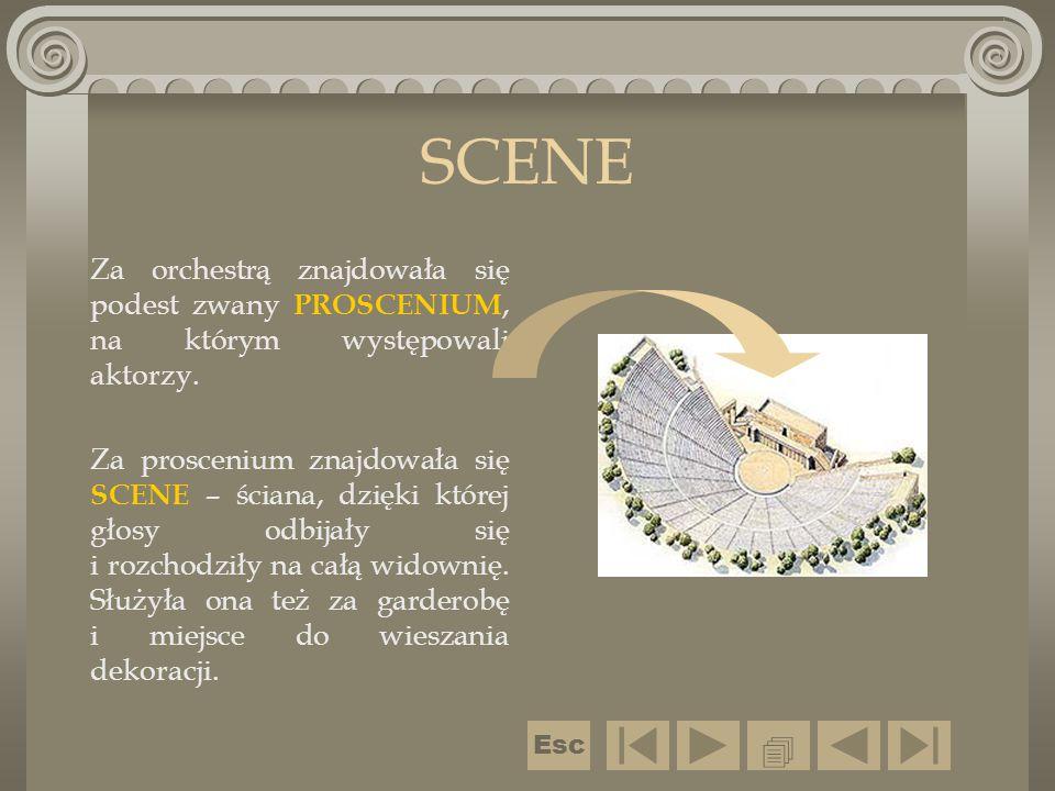 SCENE Za orchestrą znajdowała się podest zwany PROSCENIUM, na którym występowali aktorzy. Za proscenium znajdowała się SCENE – ściana, dzięki której g