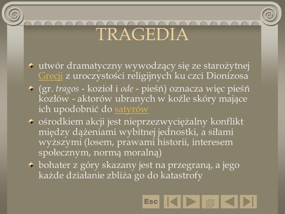 TRAGEDIA utwór dramatyczny wywodzący się ze starożytnej Grecji z uroczystości religijnych ku czci Dionizosa Grecji (gr. tragos - kozioł i ode - pieśń)
