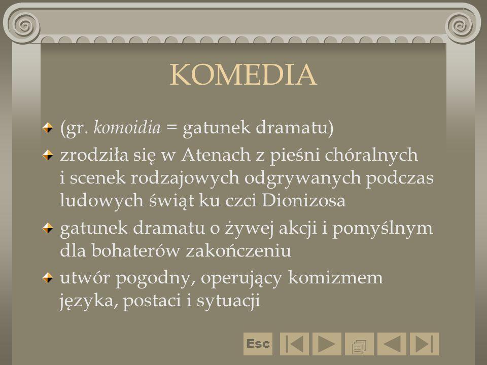 KOMEDIA (gr. komoidia = gatunek dramatu) zrodziła się w Atenach z pieśni chóralnych i scenek rodzajowych odgrywanych podczas ludowych świąt ku czci Di