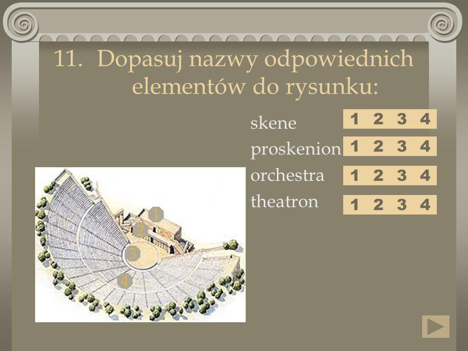 skene proskenion orchestra theatron 11.Dopasuj nazwy odpowiednich elementów do rysunku: 1 2 3 4 1243 1243 1243 1243