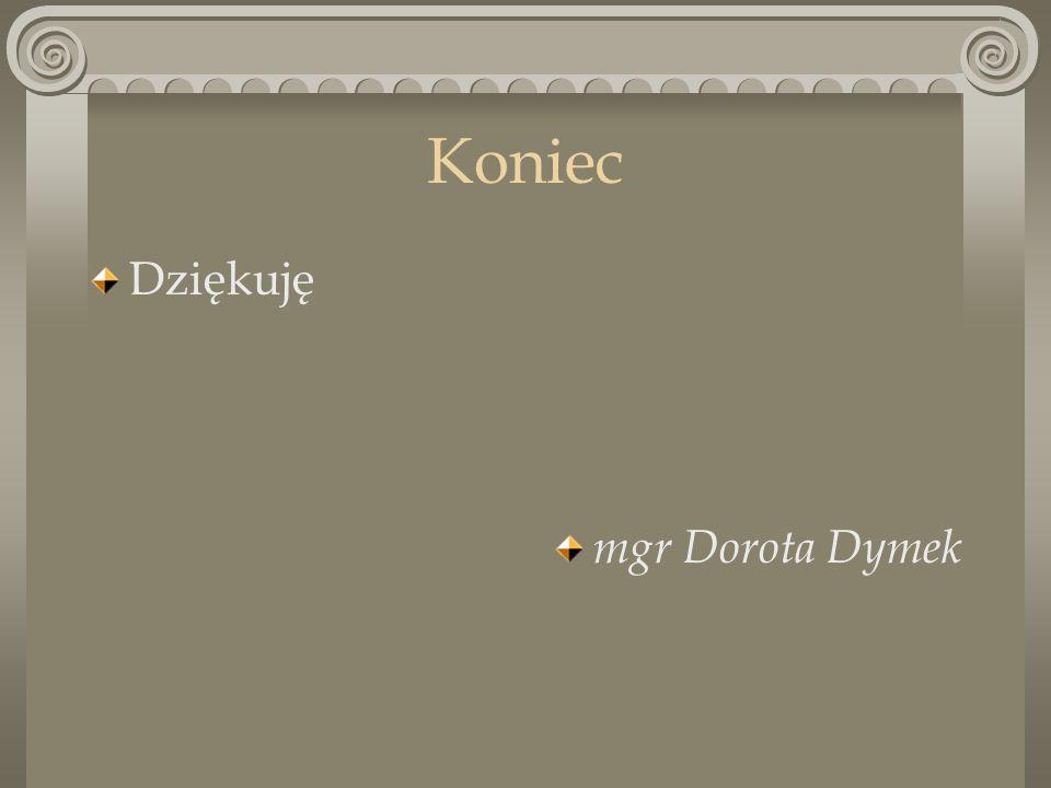 Koniec Dziękuję mgr Dorota Dymek