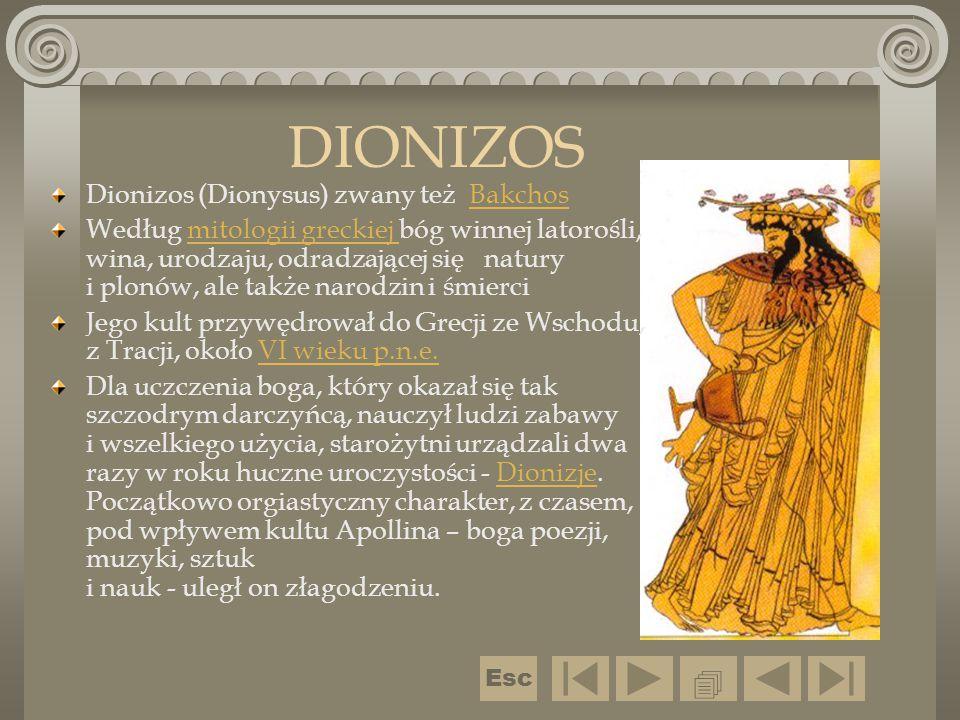 DIONIZOS Dionizos (Dionysus) zwany też BakchosBakchos Według mitologii greckiej bóg winnej latorośli, wina, urodzaju, odradzającej się natury i plonów
