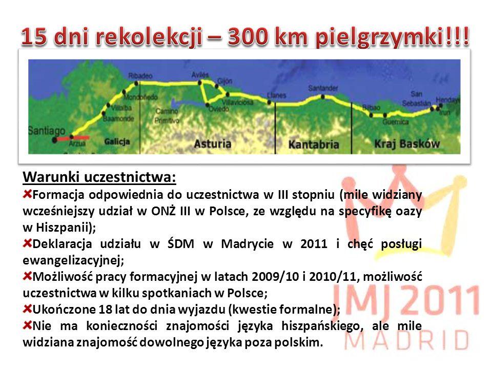 Warunki uczestnictwa: Formacja odpowiednia do uczestnictwa w III stopniu (mile widziany wcześniejszy udział w ONŻ III w Polsce, ze względu na specyfikę oazy w Hiszpanii); Deklaracja udziału w ŚDM w Madrycie w 2011 i chęć posługi ewangelizacyjnej; Możliwość pracy formacyjnej w latach 2009/10 i 2010/11, możliwość uczestnictwa w kilku spotkaniach w Polsce; Ukończone 18 lat do dnia wyjazdu (kwestie formalne); Nie ma konieczności znajomości języka hiszpańskiego, ale mile widziana znajomość dowolnego języka poza polskim.