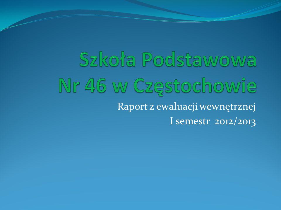 Raport z ewaluacji wewnętrznej I semestr 2012/2013