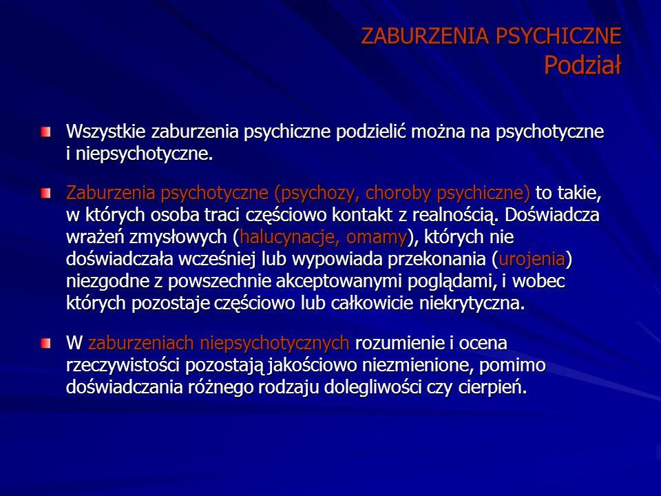 ZABURZENIA PSYCHICZNE Podział Wszystkie zaburzenia psychiczne podzielić można na psychotyczne i niepsychotyczne.