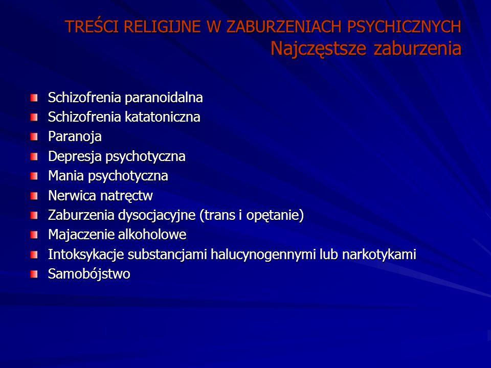 TREŚCI RELIGIJNE W ZABURZENIACH PSYCHICZNYCH Najczęstsze zaburzenia Schizofrenia paranoidalna Schizofrenia katatoniczna Paranoja Depresja psychotyczna Mania psychotyczna Nerwica natręctw Zaburzenia dysocjacyjne (trans i opętanie) Majaczenie alkoholowe Intoksykacje substancjami halucynogennymi lub narkotykami Samobójstwo