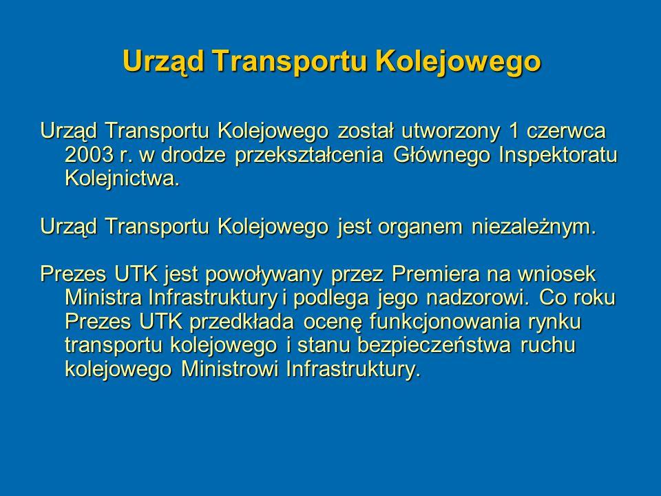 Urząd Transportu Kolejowego Urząd Transportu Kolejowego został utworzony 1 czerwca 2003 r. w drodze przekształcenia Głównego Inspektoratu Kolejnictwa.