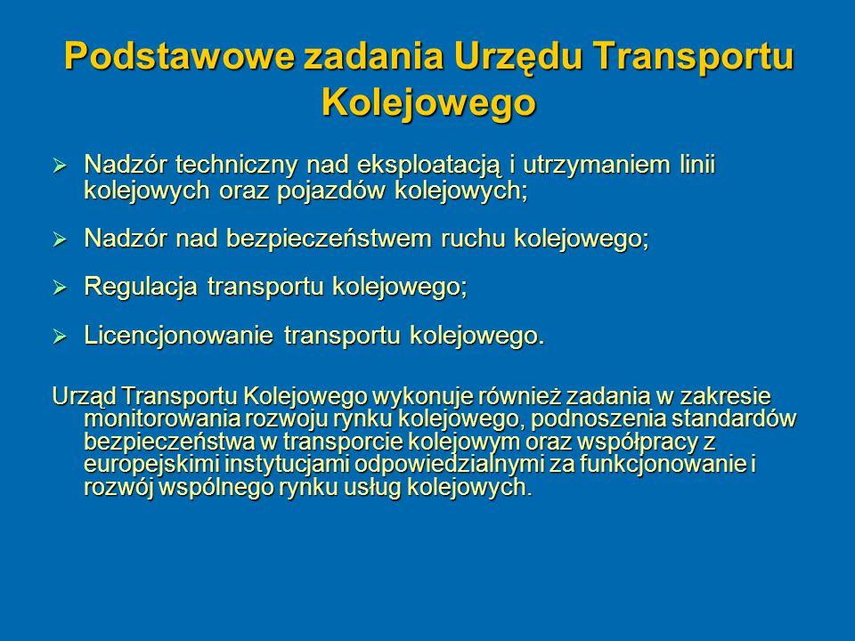 Podstawowe zadania Urzędu Transportu Kolejowego  Nadzór techniczny nad eksploatacją i utrzymaniem linii kolejowych oraz pojazdów kolejowych;  Nadzór