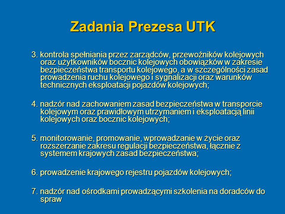 Zadania Prezesa UTK 3. kontrola spełniania przez zarządców, przewoźników kolejowych oraz użytkowników bocznic kolejowych obowiązków w zakresie bezpiec