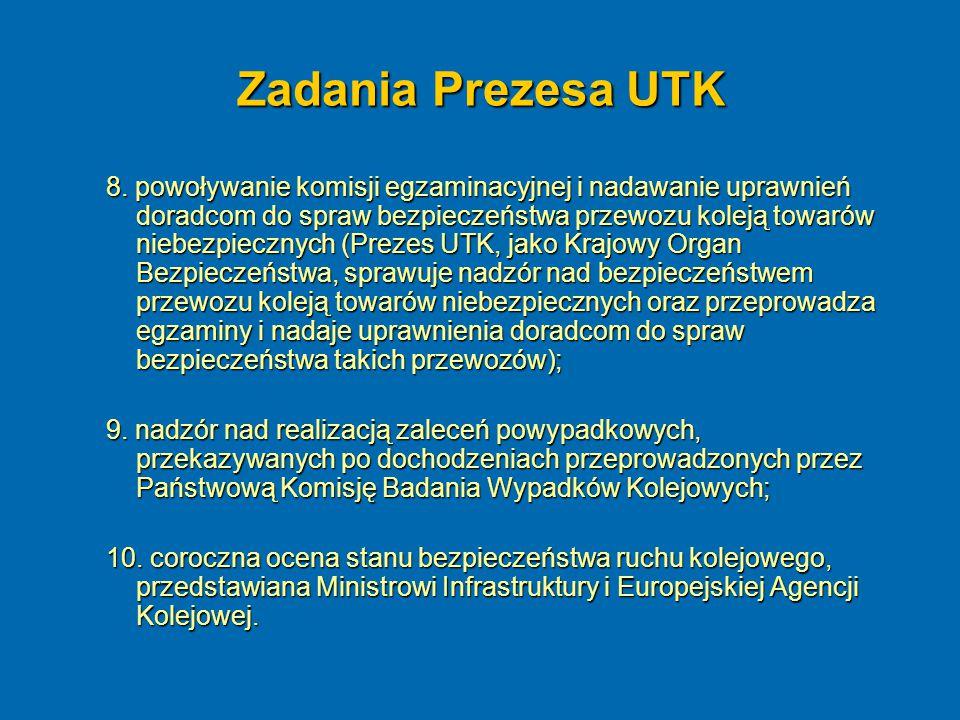 Zadania Prezesa UTK 8. powoływanie komisji egzaminacyjnej i nadawanie uprawnień doradcom do spraw bezpieczeństwa przewozu koleją towarów niebezpieczny