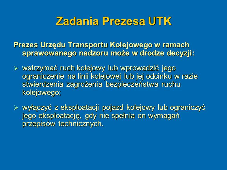 Zadania Prezesa UTK Prezes Urzędu Transportu Kolejowego w ramach sprawowanego nadzoru może w drodze decyzji:  wstrzymać ruch kolejowy lub wprowadzić