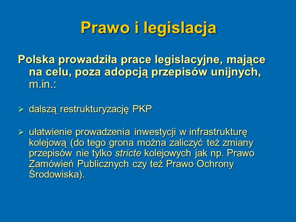 Prawo i legislacja Polska prowadziła prace legislacyjne, mające na celu, poza adopcją przepisów unijnych, m.in.:  dalszą restrukturyzację PKP  ułatw