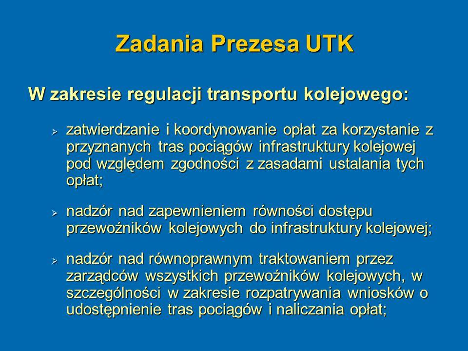 Zadania Prezesa UTK W zakresie regulacji transportu kolejowego:  zatwierdzanie i koordynowanie opłat za korzystanie z przyznanych tras pociągów infra