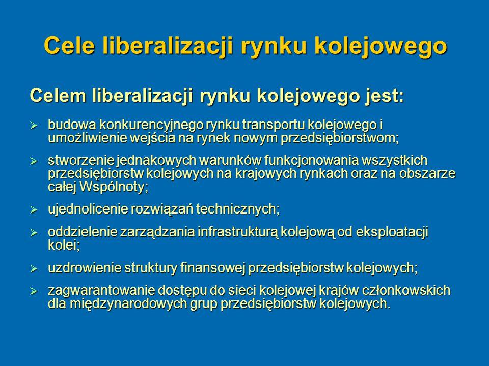 Cele liberalizacji rynku kolejowego Celem liberalizacji rynku kolejowego jest:  budowa konkurencyjnego rynku transportu kolejowego i umożliwienie wej