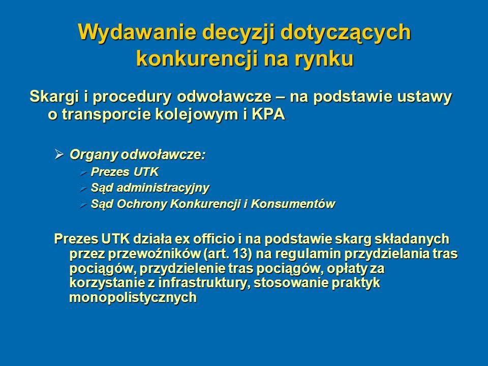 Wydawanie decyzji dotyczących konkurencji na rynku Skargi i procedury odwoławcze – na podstawie ustawy o transporcie kolejowym i KPA  Organy odwoławc