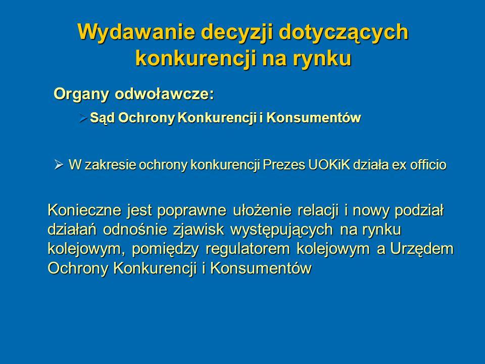 Wydawanie decyzji dotyczących konkurencji na rynku Organy odwoławcze:  Sąd Ochrony Konkurencji i Konsumentów  W zakresie ochrony konkurencji Prezes