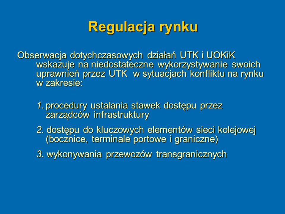 Regulacja rynku Obserwacja dotychczasowych działań UTK i UOKiK wskazuje na niedostateczne wykorzystywanie swoich uprawnień przez UTK w sytuacjach konf