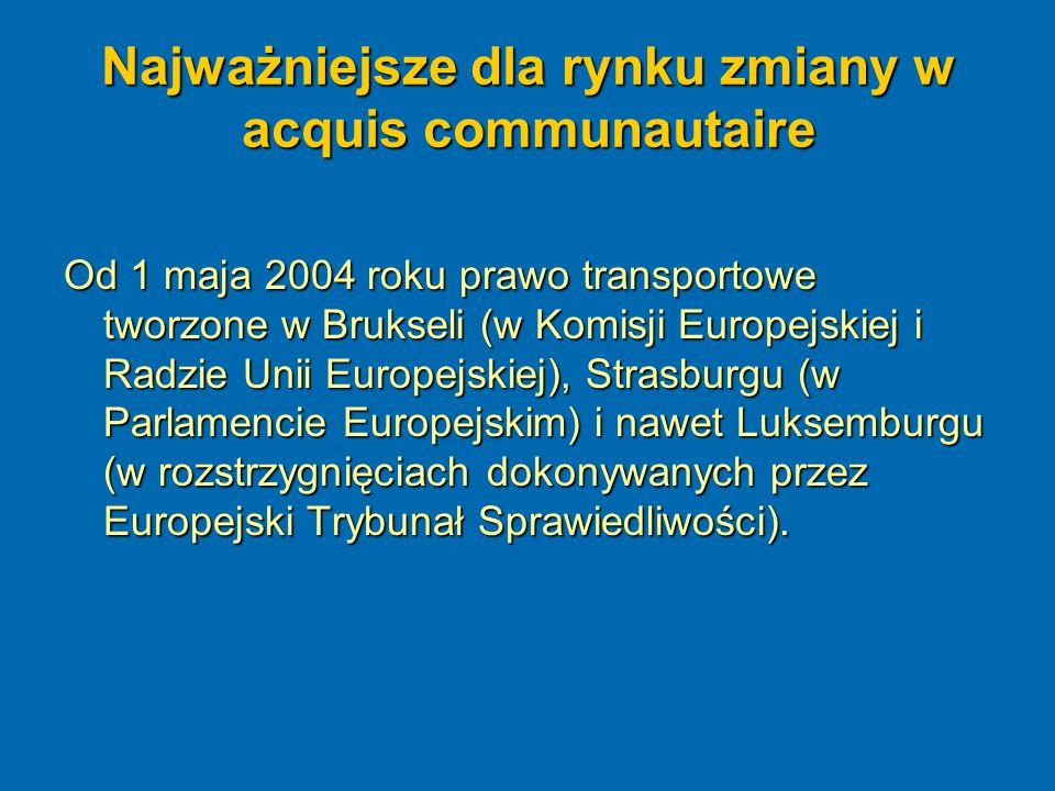 Najważniejsze dla rynku zmiany w acquis communautaire Na krótko przed rozszerzeniem Unii Europejskiej i wyborami do Parlamentu Europejskiego, Parlament wcześniejszej kadencji dokonał rewolucyjnej zmiany w dyrektywie Rady nr 91/440, czego efektem było otwarcie z dniem 1 stycznia 2007 roku rynku przewozów towarowych.