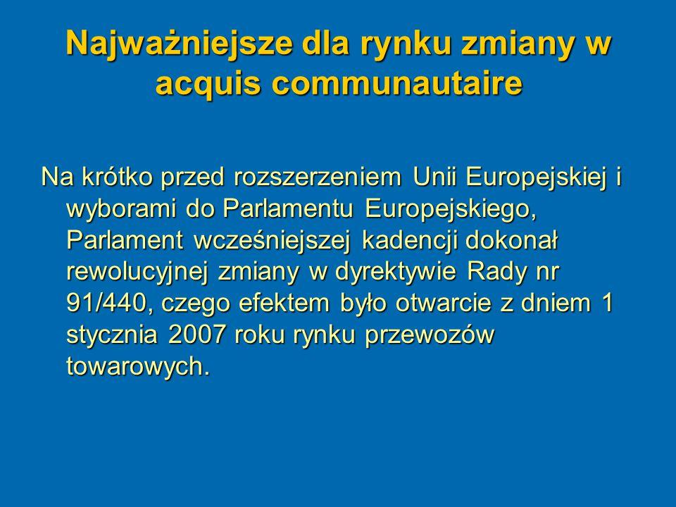 Najważniejsze dla rynku zmiany w acquis communautaire Do najważniejszych zmian w unijnym prawie uchwalonym w kadencji 2004-2009 należy zaliczyć: Rozporządzenie (WE) nr 1370/2007 Parlamentu Europejskiego i Rady z dnia 23 października 2007 roku dotyczące usług publicznych w zakresie kolejowego i drogowego transportu pasażerskiego oraz uchylające rozporządzenia Rady (EWG) nr 1191/69 i 1107/70 – regulacja rynku usług publicznych w zakresie przewozów pasażerskich; Dyrektywa 2007/58/WE Parlamentu Europejskiego i Rady z dnia 23 października 2007 r.