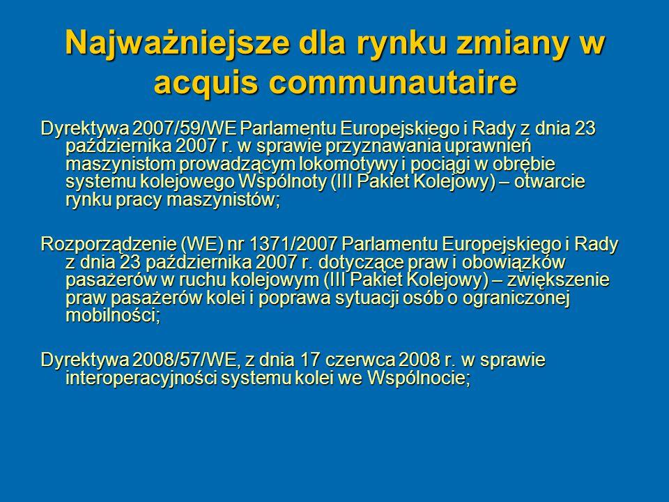 Najważniejsze dla rynku zmiany w acquis communautaire Dyrektywa 2007/59/WE Parlamentu Europejskiego i Rady z dnia 23 października 2007 r. w sprawie pr