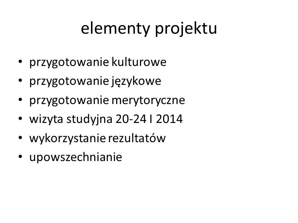 elementy projektu przygotowanie kulturowe przygotowanie językowe przygotowanie merytoryczne wizyta studyjna 20-24 I 2014 wykorzystanie rezultatów upowszechnianie