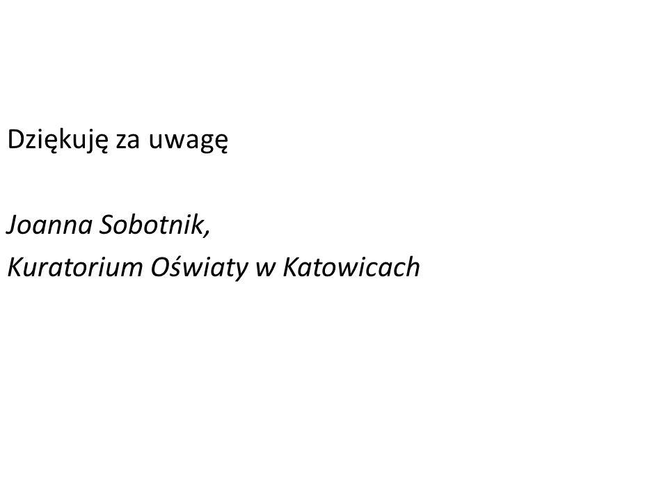 Dziękuję za uwagę Joanna Sobotnik, Kuratorium Oświaty w Katowicach