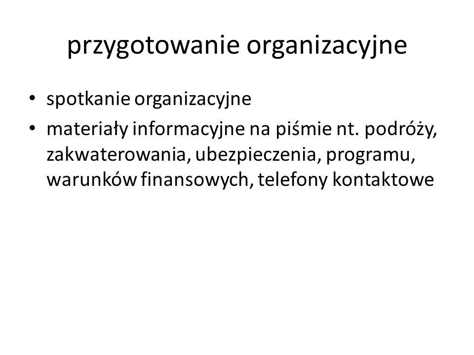 przygotowanie organizacyjne spotkanie organizacyjne materiały informacyjne na piśmie nt.