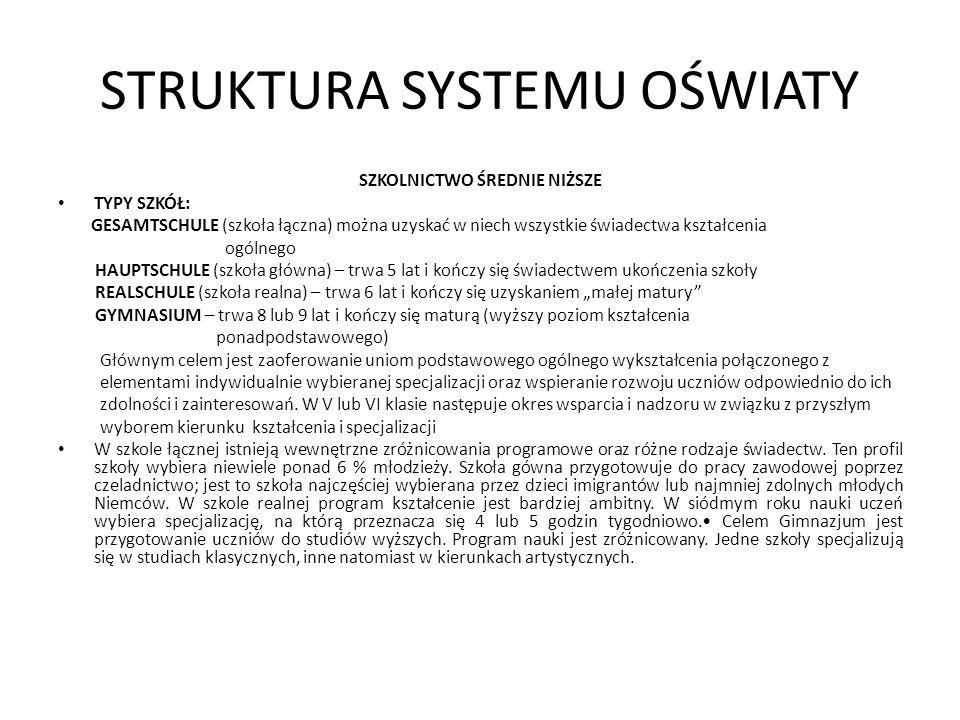 STRUKTURA SYSTEMU OŚWIATY SZKOLNICTWO ŚREDNIE NIŻSZE TYPY SZKÓŁ: GESAMTSCHULE (szkoła łączna) można uzyskać w niech wszystkie świadectwa kształcenia o