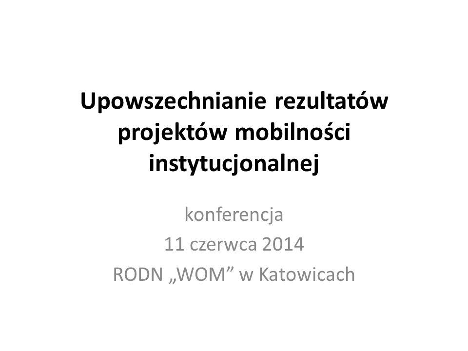 """Upowszechnianie rezultatów projektów mobilności instytucjonalnej konferencja 11 czerwca 2014 RODN """"WOM"""" w Katowicach"""