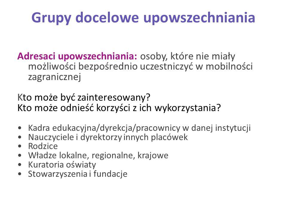 Grupy docelowe upowszechniania Adresaci upowszechniania: osoby, które nie miały możliwości bezpośrednio uczestniczyć w mobilności zagranicznej Kto moż