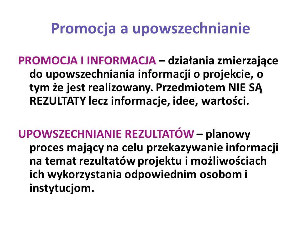 Promocja a upowszechnianie PROMOCJA I INFORMACJA – działania zmierzające do upowszechniania informacji o projekcie, o tym że jest realizowany. Przedmi