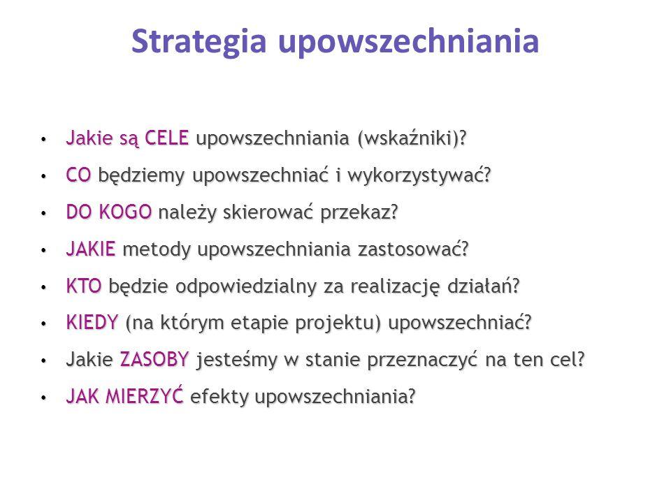 Strategia upowszechniania Jakie są CELE upowszechniania (wskaźniki)? Jakie są CELE upowszechniania (wskaźniki)? CO będziemy upowszechniać i wykorzysty
