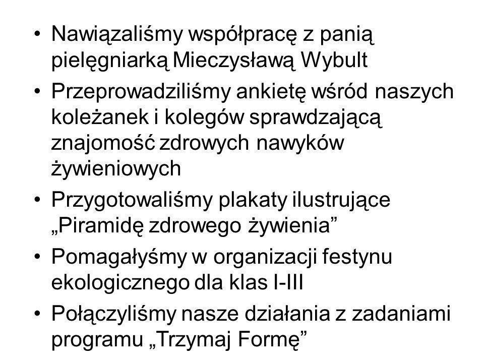 Nawiązaliśmy współpracę z panią pielęgniarką Mieczysławą Wybult Przeprowadziliśmy ankietę wśród naszych koleżanek i kolegów sprawdzającą znajomość zdr