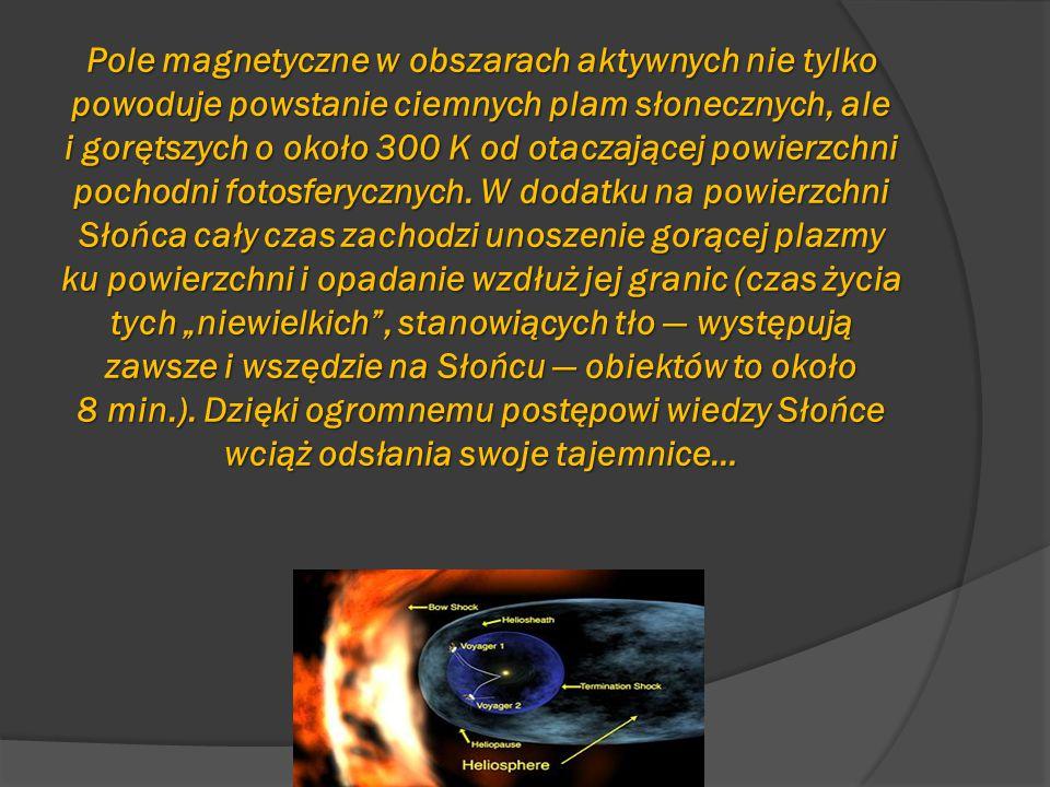 Pole magnetyczne w obszarach aktywnych nie tylko powoduje powstanie ciemnych plam słonecznych, ale i gorętszych o około 300 K od otaczającej powierzch