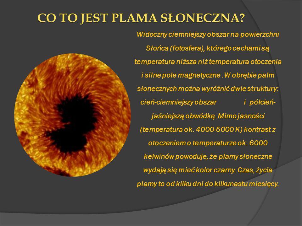 CO TO JEST PLAMA SŁONECZNA? Widoczny ciemniejszy obszar na powierzchni Słońca (fotosfera), którego cechami są temperatura niższa niż temperatura otocz