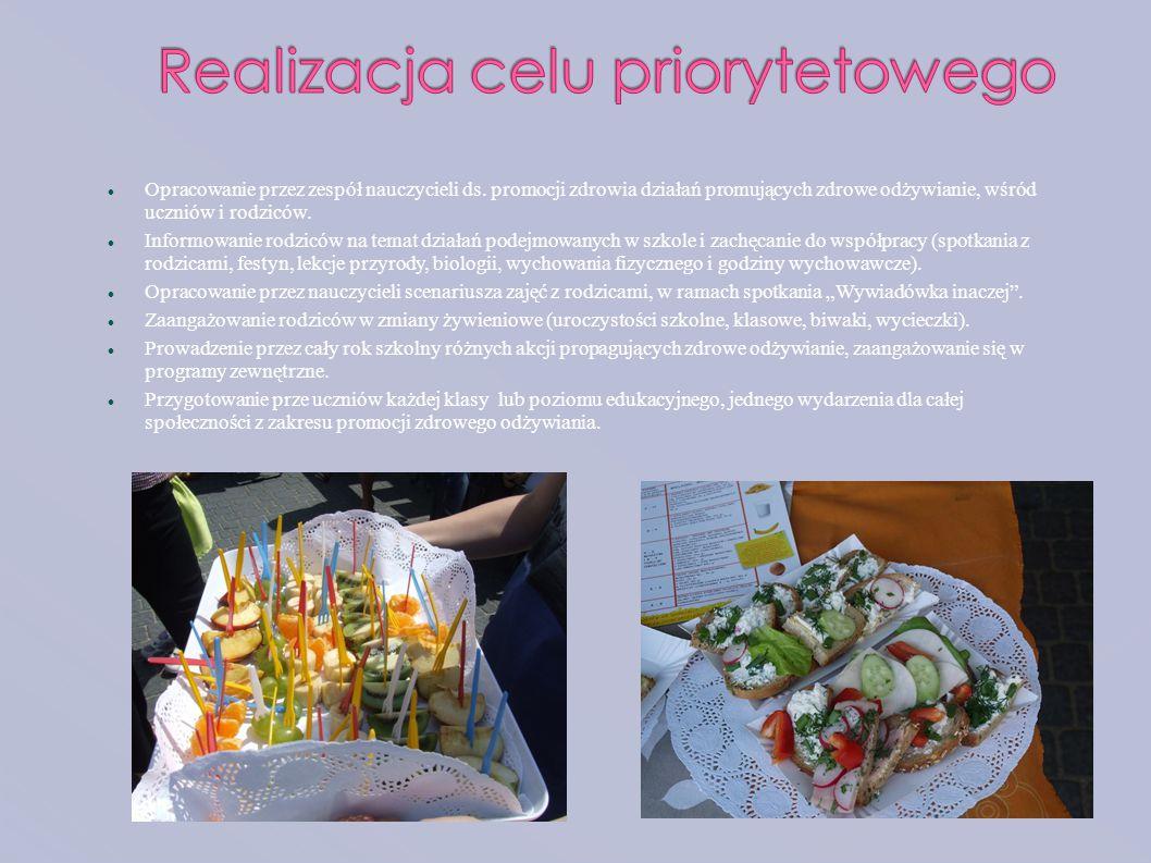 Opracowanie przez zespół nauczycieli ds. promocji zdrowia działań promujących zdrowe odżywianie, wśród uczniów i rodziców. Informowanie rodziców na te