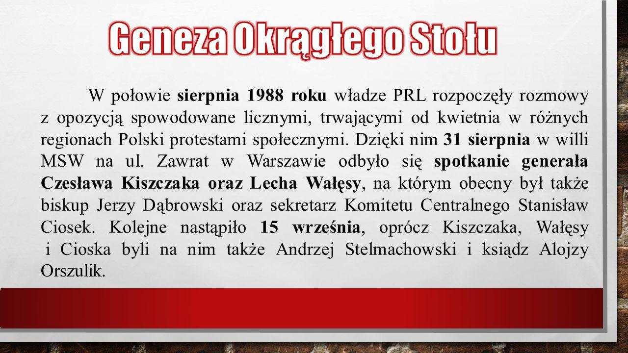 W połowie sierpnia 1988 roku władze PRL rozpoczęły rozmowy z opozycją spowodowane licznymi, trwającymi od kwietnia w różnych regionach Polski protesta