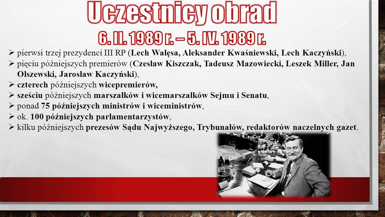  pierwsi trzej prezydenci III RP (Lech Wałęsa, Aleksander Kwaśniewski, Lech Kaczyński),  pięciu późniejszych premierów (Czesław Kiszczak, Tadeusz Ma