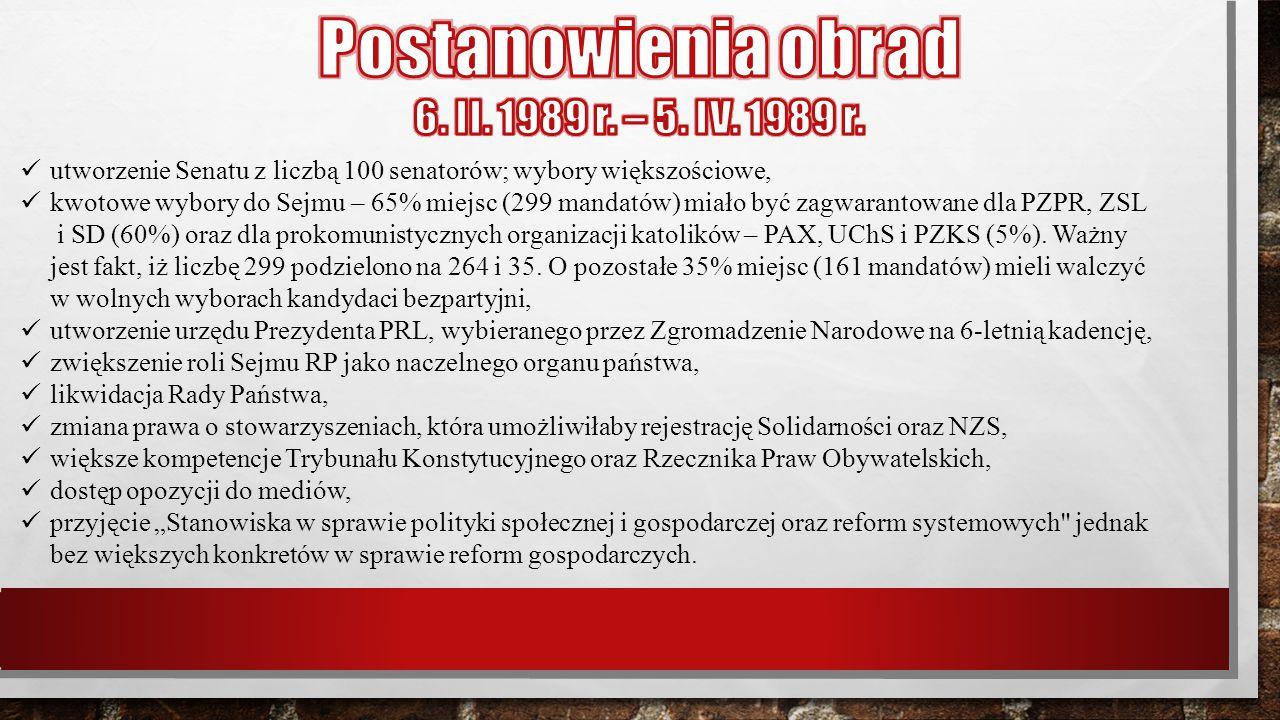 utworzenie Senatu z liczbą 100 senatorów; wybory większościowe, kwotowe wybory do Sejmu – 65% miejsc (299 mandatów) miało być zagwarantowane dla PZPR,
