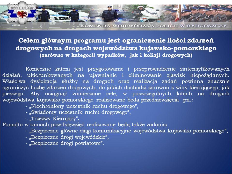 Celem głównym programu jest ograniczenie ilości zdarzeń drogowych na drogach województwa kujawsko-pomorskiego (zarówno w kategorii wypadków, jak i kol
