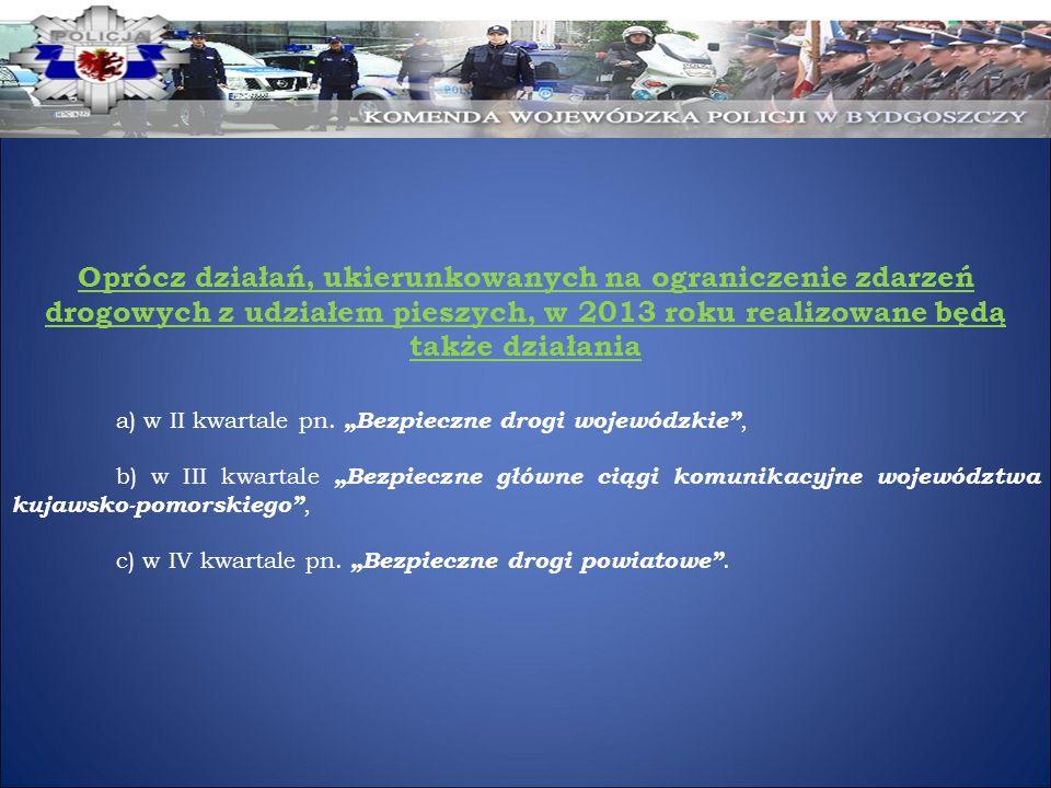 Oprócz działań, ukierunkowanych na ograniczenie zdarzeń drogowych z udziałem pieszych, w 2013 roku realizowane będą także działania a) w II kwartale p