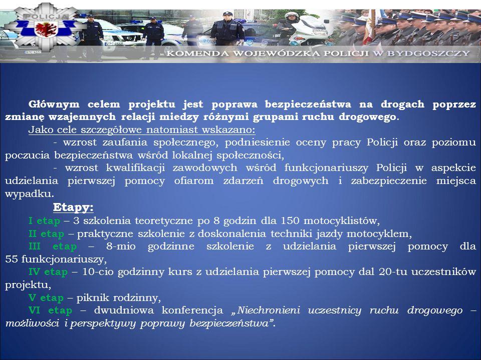 Głównym celem projektu jest poprawa bezpieczeństwa na drogach poprzez zmianę wzajemnych relacji miedzy różnymi grupami ruchu drogowego. Jako cele szcz