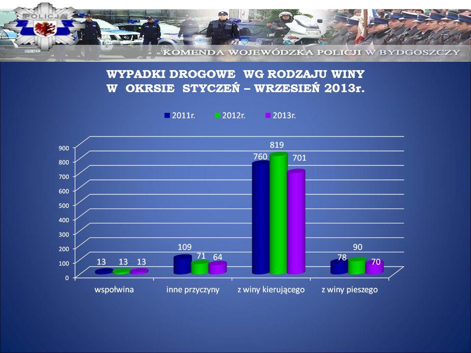 WYPADKI DROGOWE WG RODZAJU WINY W OKRSIE STYCZEŃ – WRZESIEŃ 2013r.