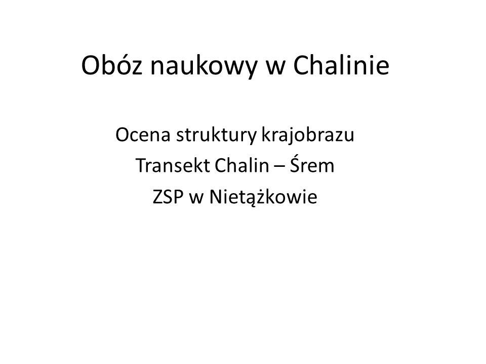 Obóz naukowy w Chalinie Ocena struktury krajobrazu Transekt Chalin – Śrem ZSP w Nietążkowie