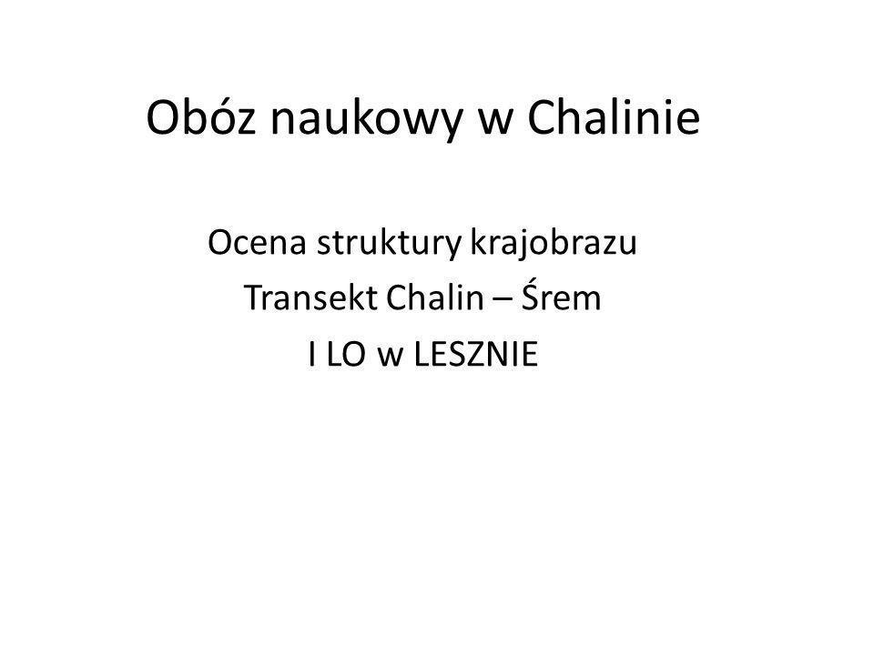 Obóz naukowy w Chalinie Ocena struktury krajobrazu Transekt Chalin – Śrem I LO w LESZNIE